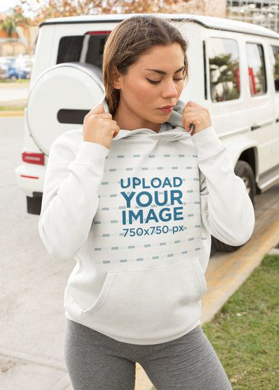 Athleisure Hoodie Mockup of a Trendy Woman Posing in the Street 32451