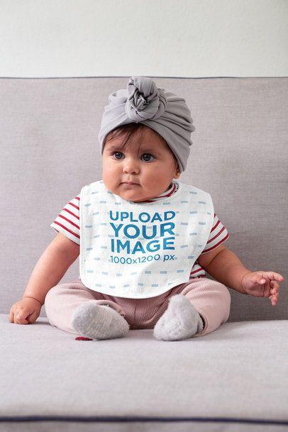 Baby Bib Mockup Featuring a Baby Girl 32484