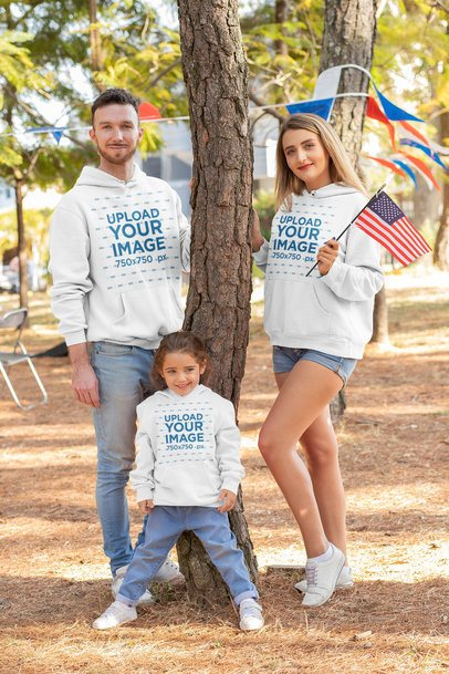Hoodie Mockup of a Happy Family Celebrating the 4th of July 33043