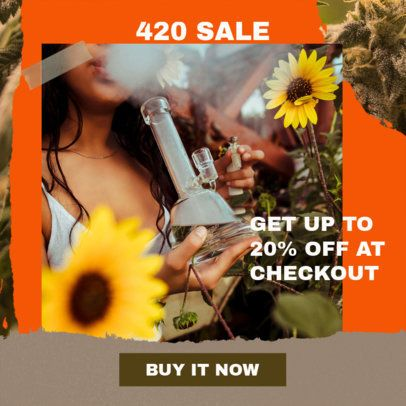 Weed-Themed Ad Banner Maker to Announce a Discount 2377b