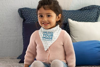 Mockup of a Smiling Little Girl with a Baby Bib 32519