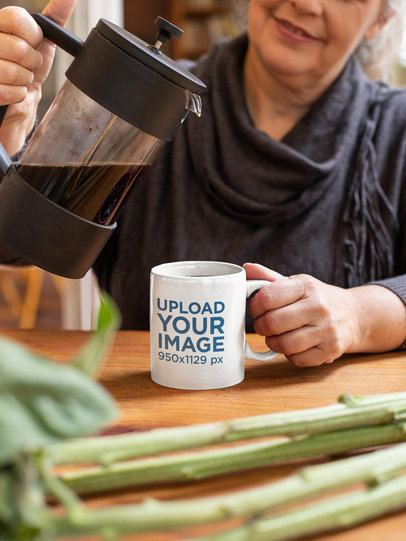 Mockup of a Woman Pouring Coffee Into a Mug at Home 32205