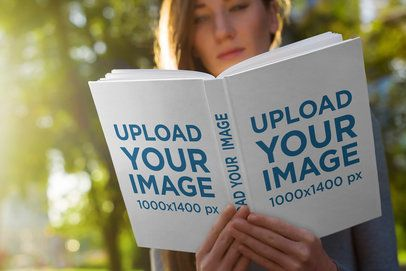 Hardcover Book Mockup Featuring a Young Woman Reading at the Park 3411-el1
