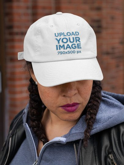 Dad Hat Mockup of a Woman with Braided Hair 32431