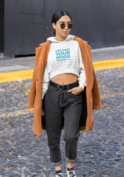 Crop Top Hoodie Mockup of a Trendy Woman with an Athleisure Style 32464