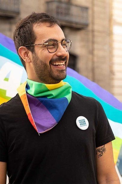 Pin Button Mockup Featuring a Smiling Man at an LGBT Parade 32967
