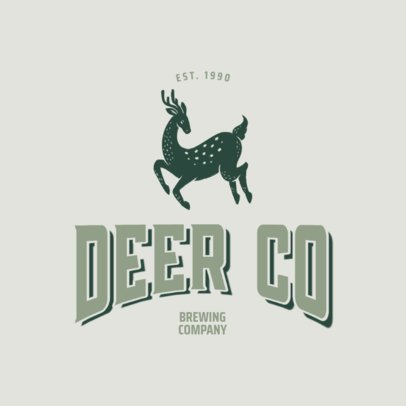 Vintage Logo Template for a Brewing Company Featuring a Deer Illustration 3064c