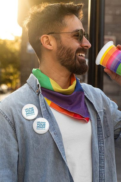 Pin Button Mockup of a Man Celebrating LGBT Pride 32981