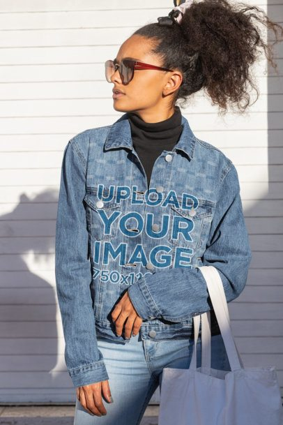 Mockup of a Young Woman Wearing a Denim Jacket 32553
