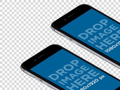 Two iPhone 6 Plus Lying on a Surface in Angled Portrait Position Mockup a12409