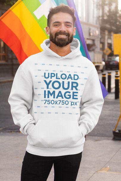 Hoodie Mockup of a Smiling Bearded Man Celebrating LGBT Pride 32979