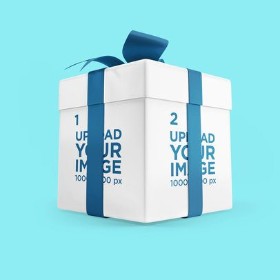 Mockup of a Customizable Gift Box With a Big Colored Ribbon 3489-el1