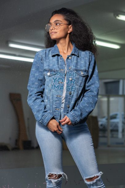 Denim Jacket Mockup of a Stylish Woman Posing 32580