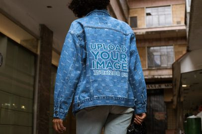 Back-View Denim Jacket Mockup of a Woman in an Urban Scenario 32570