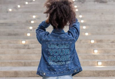Back-View Mockup of a Woman Wearing a Denim Jacket 32588