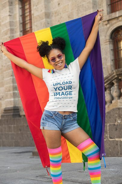 T-Shirt Mockup of a Woman Proudly Holding a Rainbow Flag 32985