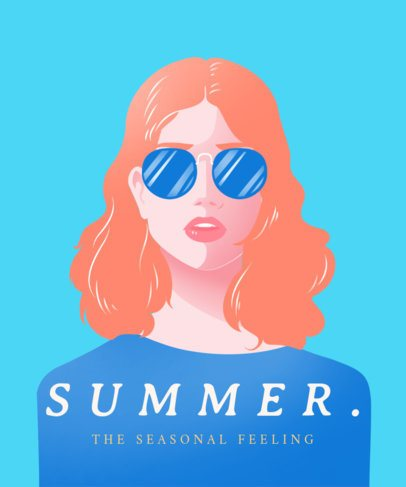 Summer T-Shirt Design Creator Featuring a Woman with Sunglasses 2405b