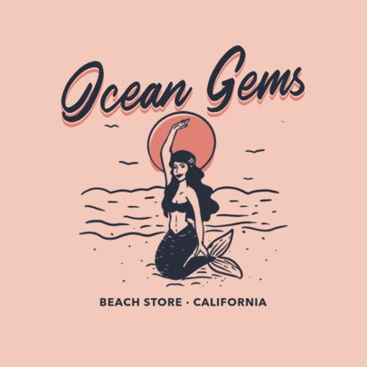Beach Store Logo Maker with a Vintage Mermaid Graphic 3087c