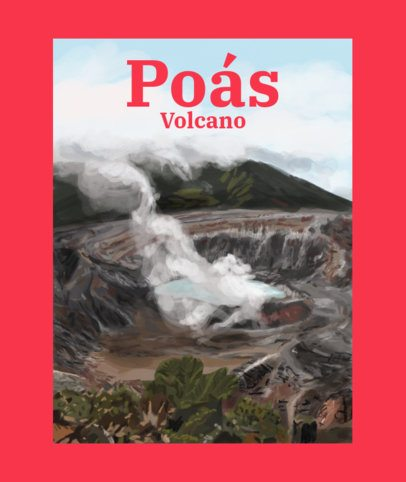 Tote Bag Design Maker with a Tote Landscape of the Poas Volcano 2400i