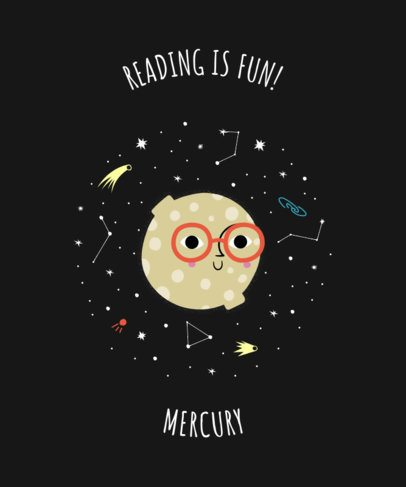 Space-Themed T-Shirt Design Template with a Cute Moon Illustration 2410a