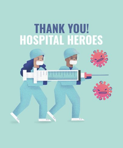 Doctor's Day T-Shirt Design Template Thanking Hospital Workers 2397d