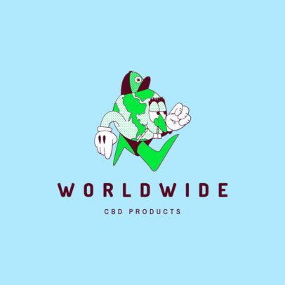 Logo Generator CBD Products Brand Featuring a World Cartoon 3082h