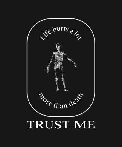 Sarcastic T-Shirt Design Template With a Skeleton Graphic 724d