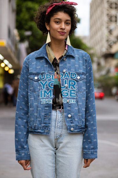 Denim Jacket Mockup of a Woman in a Retro Outfit 32579
