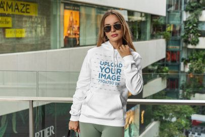 Hoodie Mockup Featuring a Woman at a Mall 3551-el1