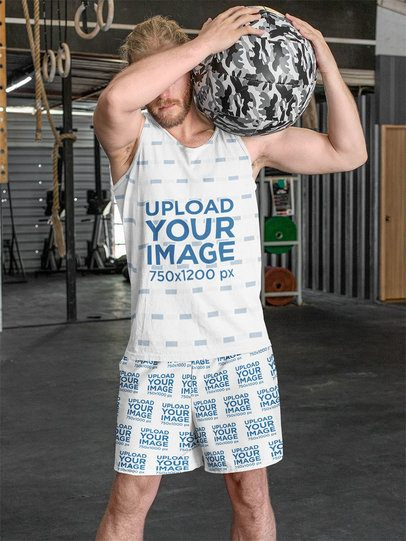 Sublimated Tank Top Mockup of a Man Wearing Shorts 33046