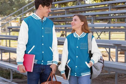 Varsity Jacket Mockup Featuring Two Friends Hanging Out 33204