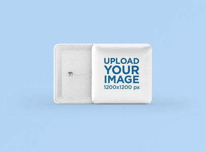 Mockup Featuring Two Square Pin Buttons Against a Plain Color Backdrop 3522-el1