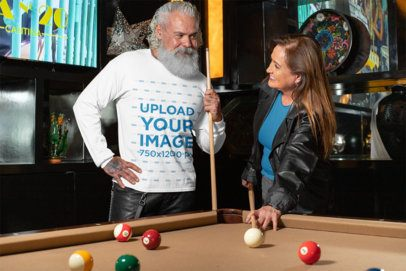 Long Sleeve Tee Mockup of a White-Bearded Man Playing Pool 32883