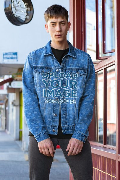 Denim Jacket Mockup Featuring a Serious Man Posing 32608