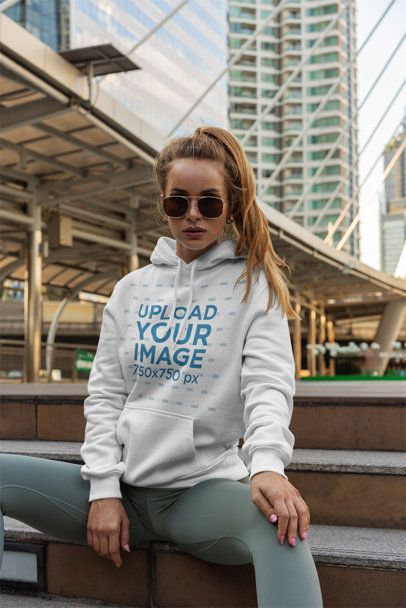 Hoodie Mockup of a Fashionable Woman Posing in the City 3558-el1