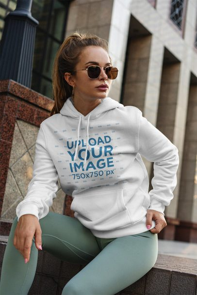 Pullover Hoodie Mockup of a Fashionable Woman with Sunglasses 3560-el1