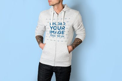 Mockup of a Tattooed Man with His Hands in the Pockets of His Heather Hoodie 3577-el1