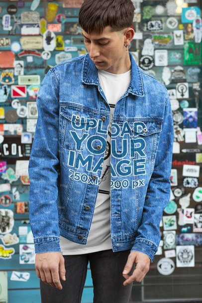 Mockup of a Man Wearing a Denim Jacket with Customizable Sleeves 32609