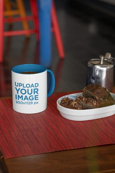 Mockup of an 11 oz Mug with a Color Inner Rim Next to a Brownie 33191