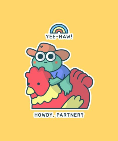 T-Shirt Design Template with Kawaii Frog Illustrations 827