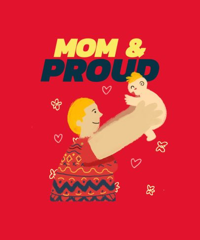 Mother's Day T-Shirt Design Generator Featuring a Mom Lifting Her Child 2426c