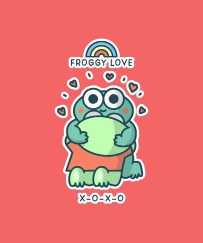 Kawaii T-Shirt Design Maker Featuring a Lovely Frog 827a