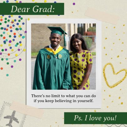 Instagram Post Maker for a Graduation Day with Confetti Graphics 2431c