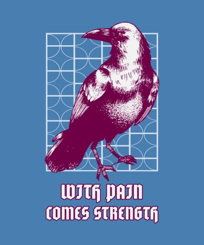 Fierce T-Shirt Design Template with the Illustration of a Crow 826c