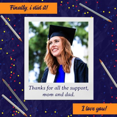 Graduation Day Instagram Post Design Generator With a Thankful Message 2431m
