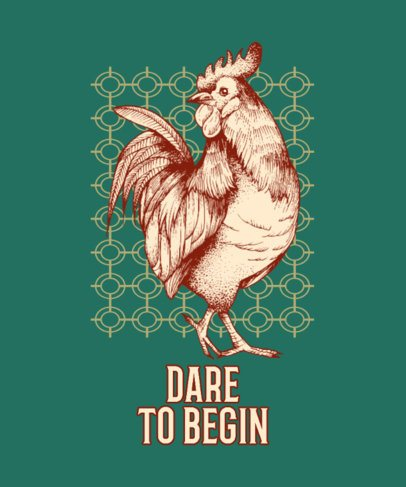 Quote T-Shirt Design Maker with the Illustration of a Rooster 826d