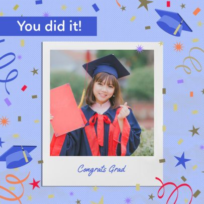 Graduation Day Instagram Post Design Template With a Congratulations Message 2431t