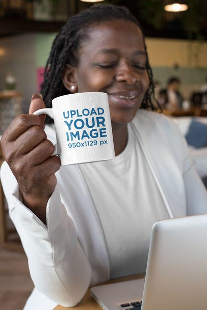 11 oz Mug Mockup Featuring a Woman Drinking Coffee at a Coworking Space 32898