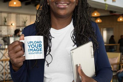 Cropped Face Mockup Featuring a Businesswoman Holding an 11 oz Coffee Mug 32906