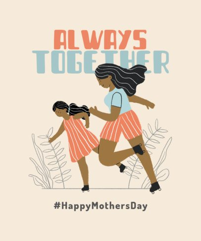 T-Shirt Design Maker Featuring an Illustration of a Mom and Her Daughter Having Fun Together 2426e
